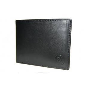 Cartera billetera de cuero negro.